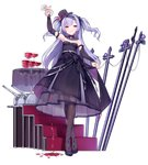 1girl ajax_(azur_lane) alcohol alternate_costume arm_up azur_lane bangs bare_shoulders black_bow black_dress black_footwear black_hat blush bow breasts bridal_gauntlets brown_legwear cannon crossed_legs cup dress dress_lift drinking_glass eyebrows_visible_through_hair floating_hair flower full_body hair_bow hat hat_flower head_tilt high_heels holding holding_cup kaede_(003591163) lifted_by_self long_hair long_sleeves mini_hat mini_top_hat official_art one_eye_closed pantyhose parted_lips pouring purple_eyes purple_flower purple_hair purple_rose rose see-through shoes small_breasts smile smirk stairs standing strapless strapless_dress striped table tilted_headwear top_hat transparent_background tsurime turret two_side_up vertical-striped_hat vertical_stripes very_long_hair watson_cross wine wine_glass