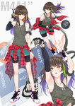1girl armband armpits arms_up bag ball bangs bare_shoulders basketball basketball_uniform bike_shorts black_bra black_shorts blush bra breasts brown_eyes brown_hair camouflage_tank_top character_name closed_mouth clothes_around_waist clothes_pull collarbone commentary eyebrows_visible_through_hair floating_hair girls_frontline gloves green_hair hair_between_eyes half-closed_eyes hand_in_pocket headphones highres holding holding_ball holding_strap jacket ladic long_hair long_sleeves looking_away m4a1_(girls_frontline) miniskirt multicolored_hair multiple_views nike no_socks open_mouth plaid plaid_shirt purple_hair running shirt shirt_around_waist shirt_lift shoes shorts side_ponytail sidelocks simple_background single_glove skirt small_breasts sneakers sony sports_bag sportswear strap streaked_hair sweat sweatdrop tank_top teal_skirt thighs under_armour underwear walkman white_background wristband