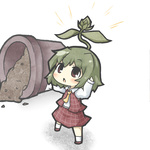 1girl bad_id bad_pixiv_id bud chestnut_mouth chibi green_hair kazami_yuuka leaf long_sleeves looking_up minigirl necktie plaid plant pot short_hair solo sprout touhou yuasan