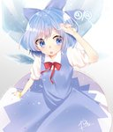 (9) 1girl :o abe_suke absurdres arm_up bangs blue_bow blue_dress blue_eyes blue_hair blue_nails bow bracelet cirno collared_shirt commentary_request dress eyebrows_visible_through_hair fingernails hair_between_eyes hair_bow highres ice ice_wings jewelry nail_polish open_mouth pleated_dress puffy_short_sleeves puffy_sleeves red_bow red_ribbon ribbon round_teeth shirt short_sleeves signature sleeveless sleeveless_dress solo sparkle star teeth touhou upper_teeth white_shirt wings