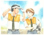1boy 1girl adjusting_clothes adjusting_hat black_eyes black_hair cloud dated eye_contact gloves graphite_(medium) hat helmet izumi_noa kidou_keisatsu_patlabor looking_at_another looking_back muted_color necktie open_mouth red_hair road shinohara_asuma short_hair sky smile street traditional_media uniform upper_body ususionorisio visor_cap walking watch watercolor_(medium) white_gloves wristwatch