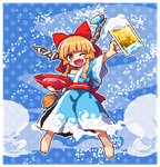 1girl ;d alcohol alternate_costume arm_up bangs bare_shoulders barefoot beer_mug blue_background blue_kimono blue_ribbon bow cloud_print commentary_request cup fang full_body hair_bow holding holding_cup horn_ribbon ibuki_suika japanese_clothes kimono kumamoto_(bbtonhk2) long_hair looking_at_viewer low-tied_long_hair lowres obi off_shoulder one_eye_closed oni oni_horns open_mouth orange_eyes orange_hair outline pixel_art polka_dot polka_dot_background red_bow red_sash ribbon sakazuki sake sash sidelocks smile solo sparkle touhou very_long_hair white_outline