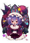 1girl :d bangs bat bat_wings black_wings blush bow brown_eyes checkered checkered_floor chibi commentary_request eyebrows_visible_through_hair fang frilled_skirt frills gradient gradient_wings hair_between_eyes hat hat_bow highres latin_cross looking_at_viewer mob_cap moon multicolored multicolored_wings muuran open_mouth pantyhose puffy_short_sleeves puffy_sleeves purple_hair purple_wings red_bow red_footwear red_moon remilia_scarlet shirt short_sleeves signature skirt skirt_hold skirt_set smile solo stained_glass star touhou tower white_background white_hat white_legwear white_shirt white_skirt wings