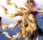 1boy armor cancer_death_mask full_armor purple_eyes purple_hair saint_seiya saint_seiya:_soul_of_gold short_hair solo ume2888