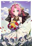 1girl :o bangs blue_eyes blue_sky blush bouquet breasts brown_eyes btraphen cloud cloudy_sky collarbone commentary_request day dress elbow_gloves fate/grand_order fate_(series) flower frankenstein's_monster_(fate) gloves highres holding holding_bouquet horn looking_at_viewer medium_breasts parted_bangs parted_lips petals pink_hair red_flower red_rose rose sky sleeveless sleeveless_dress solo veil white_dress white_flower white_gloves white_rose yellow_flower yellow_rose