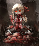 1girl alternate_hair_length alternate_hairstyle berver blonde_hair blood blood_on_face bloody_clothes bloody_hair bloody_hands bow constricted_pupils creepy food glowing glowing_eyes hair_bow hand_to_own_mouth long_hair looking_at_viewer meat orange_eyes rumia short_sleeves sitting sketch skirt spotlight staring touhou