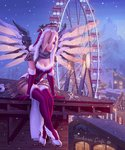 1girl bangle belt belt_buckle bird blonde_hair blue_eyes bracelet breasts buckle building cafe christmas christmas_lights cleavage crossed_legs dated dress elbow_gloves faulds ferris_wheel fog foot_dangle full_body fur-trimmed_legwear fur_trim gloves glowing glowing_wings grey_scarf hair_over_one_eye half-timbered hat high_heels highres holly jewelry large_breasts leaning_forward legs_together leo_queval leotard light_smile looking_away mechanical_halo mechanical_wings mercy_(overwatch) mole mole_on_breast mountain night nose on_roof outdoors overwatch pauldrons pelvic_curtain pink_lips red_dress red_gloves red_legwear rooftop santa_costume santa_hat scarf shoes shutter sign signature sitting sky sleeveless snowing solo spread_wings swiss_flag thighhighs town white_footwear window winged_shoes wings yellow_wings