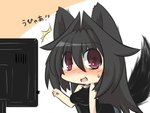 1girl animal_ears black_hair blush breasts chibi commentary_request denim fang fox_ears fox_tail goma_(gomasamune) hair_between_eyes hair_intakes highres jeans long_hair looking_at_viewer open_mouth original pants red_eyes sleeveless solo surprised sweatdrop tail television translation_request