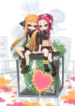 2girls arm_support asymmetrical_clothes black_footwear boots closed_eyes commentary fangs heart highres inkling jacket leaning_on_person matchaneko midriff multiple_girls navel octoling open_mouth orange_hair pink_hair plant pointy_ears skirt smile splatoon splatoon_2 splatoon_2:_octo_expansion squidbeak_splatoon stomach tentacle_hair wristband yuri zipper_pull_tab