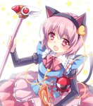 1girl adapted_costume alternate_costume animal_ears blush bow card cardcaptor_sakura cat_ears cat_tail cosplay eyeball fake_animal_ears fuuin_no_tsue hairband heart holding kinomoto_sakura kinomoto_sakura_(cosplay) komeiji_satori looking_at_viewer magical_girl mikazuki_sara open_mouth pink_hair red_eyes short_hair smile staff star starry_background tail third_eye