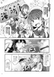 6+girls ainu_clothes bottle bow braid clenched_hands closed_eyes comic commentary_request eating etorofu_(kantai_collection) folded_ponytail food gangut_(kantai_collection) glass greyscale hair_bow hairband hand_to_own_mouth hands_together hat highres holding holding_bottle holding_food holding_glass houshou_(kantai_collection) jewelry kamoi_(kantai_collection) kantai_collection kunashiri_(kantai_collection) long_hair long_sleeves military military_hat military_uniform monochrome multiple_girls neckerchief notebook open_mouth peaked_cap pleated_skirt ponytail ring sailor_collar sailor_hat sailor_shirt school_uniform serafuku shimushu_(kantai_collection) shirt short_hair sidelocks sign skirt smile translation_request twin_braids twintails uniform wedding_band yuzu_momo