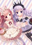 2girls :d animal_ears apron artist_name bare_shoulders black_legwear black_skirt black_sleeves blush brown_dress brown_hair bunny_ears chestnut_mouth chitosezaka_suzu collarbone commentary_request crop_top detached_sleeves diagonal-striped_background diagonal_stripes dress dutch_angle food frilled_apron frills fruit holding holding_tray long_hair midriff multiple_girls navel open_mouth original pancake pantyhose puffy_short_sleeves puffy_sleeves purple_apron purple_eyes purple_hair purple_legwear red_eyes short_sleeves skirt smile stack_of_pancakes standing standing_on_one_leg strawberry striped striped_background thighhighs tray twintails very_long_hair waist_apron white_apron wrist_cuffs