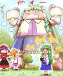 +_+ 3girls antennae blonde_hair blue_hair blush detached_sleeves frog_hair_ornament grass green_hair hair_ornament hair_tubes happy hat jiaa_(pochidogrush) kochiya_sanae long_hair mecha mechanization moriya_suwako multiple_girls open_mouth pyonta revision ribbon robot short_hair skirt smile snake_hair_ornament sparkle touhou translated tree yasaka_kanako