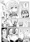 3girls :o :t ahoge armor armored_dress bangs blush bow braid capelet chibi closed_mouth comic eyebrows_visible_through_hair fate/apocrypha fate/grand_order fate_(series) fur-trimmed_capelet fur_trim greyscale hair_between_eyes hair_bow hand_mirror headpiece holding holding_mirror jeanne_d'arc_(alter)_(fate) jeanne_d'arc_(fate) jeanne_d'arc_(fate)_(all) jeanne_d'arc_alter_santa_lily laughing long_hair long_sleeves mirror monochrome multiple_girls nose_blush o_o open_mouth parted_lips ribbon rioshi single_braid striped striped_bow striped_ribbon teardrop translation_request trembling very_long_hair wavy_mouth