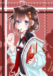 1girl blue_eyes blush braid brown_hair commentary_request food hair_flaps hair_ornament ishida_mia kantai_collection pocky pocky_day remodel_(kantai_collection) shigure_(kantai_collection) single_braid solo