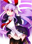 1girl :o animal_ears bangs black_legwear breasts bunny_ears buttons crescent crescent_moon_pin eyebrows_visible_through_hair hair_between_eyes jacket kkis-i long_hair long_sleeves looking_at_viewer necktie open_clothes open_jacket open_mouth purple_hair red_eyes red_neckwear reisen_udongein_inaba shirt skirt solo tagme thighhighs touhou white_shirt wing_collar