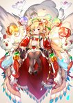 1girl animal animal_ears bandeau bare_shoulders beads bird black_footwear blonde_hair brown_legwear chicken collarbone commentary_request dated detached_sleeves ear_piercing feathers glint glowing granblue_fantasy hair_beads hair_feathers hair_ornament harvin high_ponytail highres holding long_hair long_sleeves mahira_(granblue_fantasy) navel open_mouth pelvic_curtain piercing pilokey ponytail red_bandeau signature solo thighhighs very_long_hair white_feathers white_sleeves wide_sleeves