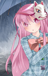1girl blush bow commentary fox_mask hammer_(sunset_beach) hata_no_kokoro long_hair looking_at_viewer mask pink_eyes pink_hair plaid plaid_shirt rain solo star touhou triangle umbrella