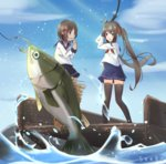 2girls animal artist_name blue_skirt blue_sky bow brown_eyes brown_hair cloud commentary_request day fish fishing fishing_hook fishing_line fishing_rod hair_bow hair_ornament hairclip holding holding_fishing_rod long_hair long_sleeves multiple_girls neckerchief original outdoors pleated_skirt red_bow red_neckwear school_uniform seero serafuku shirt skirt sky standing twintails very_long_hair water white_shirt