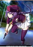 1girl braid gift hat highres holding holding_gift long_hair looking_at_viewer melty_blood mikazuki_akira! moon night outdoors pleated_skirt purple_eyes purple_hair purple_legwear road running sion_eltnam_atlasia skirt solo street thighhighs tree tsukihime white_skirt zettai_ryouiki
