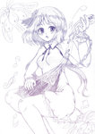 1girl biwa_lute colored_pencil_(medium) dress flower hair_flower hair_ornament instrument long_hair lute_(instrument) monochrome musical_note myo-gateien sketch solo touhou traditional_media tsukumo_benben twintails