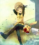 1girl androgynous apple arms_behind_head bad_id bad_pixiv_id blonde_hair boots crossed_legs fishing_rod food fruit gen_1_pokemon hat holding holding_fruit one_eye_closed open_mouth pika_(pokemon) pikachu poke_ball poke_ball_(generic) pokemon pokemon_(creature) pokemon_special reverse_trap sitting sketchbook smile straw_hat waist_poke_ball yellow_(pokemon) yellow_eyes yoshi_(danball)