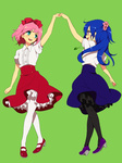 2girls arm_up bad_id bad_pixiv_id blue_hair blush giggles green_background happy_tree_friends hirosuke_(psychexx) holding_hands long_hair multiple_girls pantyhose personification petunia pink_hair short_hair simple_background smile