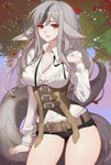 1girl absurdres animal_ears arm_at_side belt blurry breasts buckle cleavage contrapposto corset cowboy_shot depth_of_field fire_emblem fire_emblem_fates highres lips long_hair long_sleeves medium_breasts multicolored_hair outdoors paid_reward parted_lips patreon_reward petals short_shorts shorts sidelocks silver_hair solo songjikyo streaked_hair tail thighs underbust velouria_(fire_emblem)