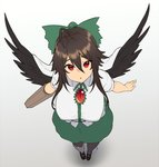 1girl arm_cannon bangs black_footwear black_hair black_legwear black_wings bow breasts cape eyebrows_visible_through_hair feathered_wings from_above full_body gradient gradient_background green_bow green_skirt grey_background hair_between_eyes hair_bow houtengeki large_breasts looking_at_viewer looking_up mary_janes pantyhose parted_lips red_eyes reiuji_utsuho shadow shirt shoes short_sleeves sidelocks skirt solo standing touhou weapon white_background white_cape white_shirt wings