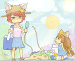 3girls :x animal_ears bag bare_shoulders blue_skirt blue_sky blush brown_hair camisole cat_ears collarbone commentary_request day dejiko di_gi_charat full_body gema green_hair hair_ornament handbag hat height_difference hot light_rays looking_at_another mike_(di_gi_charat) multiple_girls open_mouth outdoors puchiko reaching red_hair shirt short_hair skirt sky sleeveless sleeveless_shirt standing sun sunlight tail top-down_bottom-up toritoma_(sweetandsour) wavy_arms