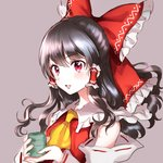 1girl :d ascot bangs bare_shoulders black_hair blush bow commentary_request cup detached_sleeves eyebrows_visible_through_hair frilled_bow frilled_shirt_collar frills grey_background hair_between_eyes hair_bow hair_tubes hakurei_reimu holding holding_cup long_hair looking_at_viewer open_mouth pink_eyes red_bow ribbon-trimmed_sleeves ribbon_trim rosette_(roze-ko) sidelocks simple_background smile solo touhou upper_body yellow_neckwear