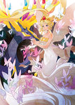 1girl bare_shoulders bishoujo_senshi_sailor_moon blonde_hair blue_eyes butterfly creature crown double_bun draa_(treetrooper) dress highres long_hair neo_queen_serenity pokemon pokemon_(game) pokemon_xy strapless_dress tsukino_usagi twintails white_dress xerneas