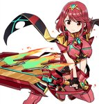 1girl armor armored_dress black_gloves boots breasts closed_mouth dress earrings eyebrows_visible_through_hair fingerless_gloves fire flame gloves highres holding holding_sword holding_weapon homura_(xenoblade_2) huge_weapon jewelry leg_up looking_at_viewer medium_breasts red_dress red_eyes red_hair red_legwear shisoneri short_hair simple_background smile solo sparkle standing standing_on_one_leg star star_earrings sword thigh_boots thighhighs tiara v-shaped_eyebrows weapon white_background xenoblade_(series) xenoblade_2