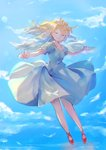 1girl angel angel_wings asanagi_kurumi_(panda-doufu) bare_legs blonde_hair blush closed_eyes cloud cloudy_sky commentary day dress feathers flying full_body happy long_hair original outstretched_arms puffy_sleeves red_footwear sky smile sunlight white_dress white_wings wings