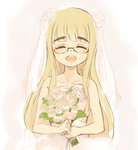 1girl :d blonde_hair bouquet bridal_veil closed_eyes collarbone dress eyebrows flower glasses long_hair mune open_mouth perrine_h_clostermann smile solo strike_witches veil wedding_dress