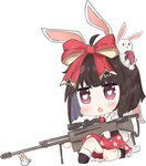 1girl animal_ears bailingxiao_jiu bangs barrett_m99 black_footwear blush bow brown_hair bunny bunny_ears bunny_girl bunny_tail chibi collared_shirt explosive eyebrows_visible_through_hair fang girls_frontline grenade gun hair_bow heart heart-shaped_pupils highres holding holding_gun holding_weapon kemonomimi_mode looking_at_viewer m99_(girls_frontline) necktie object_namesake one_knee open_mouth print_skirt purple_eyes red_bow red_neckwear red_skirt scope shirt short_hair simple_background skirt socks solo sparkle star star_print stuffed_animal stuffed_bunny stuffed_toy symbol-shaped_pupils tail weapon white_background white_legwear white_shirt
