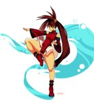 1girl ankle_boots bad_revision bangs bare_shoulders boots breasts brown_eyes brown_hair china_dress chinese_clothes closed_mouth commentary detached_sleeves dress fighting_stance full_body guilty_gear high_heel_boots high_heels knee_up kuradoberi_jam long_hair long_sleeves md5_mismatch medium_breasts panties red_dress red_footwear signature smile solo standing standing_on_one_leg twintails typo_(requiemdusk) underwear very_long_hair white_panties wide_sleeves