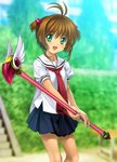 1girl absurdres brown_hair cardcaptor_sakura fuuin_no_tsue green_eyes highres kinomoto_sakura mutsuki_(moonknives) school_uniform skirt slim_legs solo tomoeda_elementary_school_uniform wand