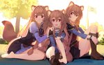 3girls :d animal_ears bangs barefoot beek blunt_bangs blush boot_removed boots brown_hair collar commentary cuffs dress eyebrows_visible_through_hair feet flag full_body girl_sandwich hair_between_eyes hand_on_another's_shoulder handcuffs happy highres knee_boots long_hair long_legs long_sleeves looking_at_viewer multiple_girls multiple_persona older open_mouth outdoors puffy_long_sleeves puffy_sleeves raccoon_ears raccoon_girl raccoon_tail raphtalia red_eyes ribbed_sweater sandwiched sidelocks single_boot sitting smile sweater tail tate_no_yuusha_no_nariagari time_paradox tree younger