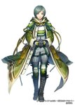 1boy belt_boots black_gloves boots border_break cloak cross-laced_footwear full_body gloves green_eyes grey_hair hands_together knee_pads lace-up_boots male_focus matsutooooka46t official_art simple_background solo standing thigh_boots thighhighs white_background