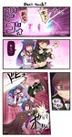 2girls 3koma anger_vein bangs bare_shoulders belly_grab black_hair blunt_bangs blush breasts brown_eyes brown_hair closed_eyes comic commentary_request damaged detached_sleeves grin hair_ornament hairband hairclip haruna_(kantai_collection) headgear highres ido_(teketeke) japanese_clothes kantai_collection kicking kinu_(kantai_collection) large_breasts long_hair multiple_girls neckerchief nontraditional_miko ooi_(kantai_collection) open_mouth pleated_skirt remodel_(kantai_collection) school_uniform self_hug serafuku shaded_face skirt smile tearing_up torn_clothes translated