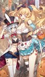 1boy 5girls ;d alice_(wonderland) alice_(wonderland)_(cosplay) alice_in_wonderland animal_ears anne_bonny_(fate/grand_order) arm_around_back assassin_of_black asymmetrical_legwear banner blonde_hair blue_eyes bow bowtie breasts bunny_ears camera candy chocoan cleavage club_(shape) coattails confetti corset cosplay diamond_(shape) dress edward_teach_(fate/grand_order) facial_scar fake_animal_ears fate/grand_order fate_(series) food gloves hair_bow half_gloves hand_on_headwear hat hat_with_ears heart jack-o'-lantern jeanne_d'arc_(fate)_(all) jeanne_d'arc_alter_santa_lily large_breasts lollipop long_hair mary_read_(fate/grand_order) midriff mouth_hold multiple_girls navel nursery_rhyme_(fate/extra) off-shoulder_dress off_shoulder official_art one_eye_closed open_mouth red_eyes ribbon scar short_hair short_shorts shorts smile spade_(shape) striped striped_legwear swirl_lollipop thighhighs top_hat two_side_up very_long_hair white_hair white_legwear white_rabbit white_rabbit_(cosplay) wrist_cuffs