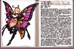 1girl :d antennae blonde_hair boots breasts butterfly_wings character_name character_profile flower hairband high_heel_boots high_heels insect_girl kenkou_cross large_breasts monster_girl monster_girl_encyclopedia open_mouth outstretched_arms papillon_(monster_girl_encyclopedia) red_eyes short_hair smile solo spread_arms thigh_boots thighhighs wings