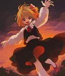 1girl ascot bangs blonde_hair blouse blush bow dress_shirt evening fang hair_ribbon ka_(marukogedago) long_sleeves looking_at_viewer mary_janes necktie open_mouth outstretched_arms red_eyes red_footwear red_neckwear ribbon rumia shirt shoes short_hair skirt skirt_set sky socks solo spread_arms touhou vest white_blouse white_legwear