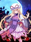 1girl :d backlighting benitsuki_tsubasa blonde_hair blush bow breasts dress eyebrows_visible_through_hair eyes finger_to_mouth full_moon hair_bow hands_up hat hat_ribbon index_finger_raised juliet_sleeves large_breasts layered_dress long_hair long_sleeves looking_at_viewer low-tied_long_hair mob_cap moon moonlight multicolored multicolored_eyes night night_sky open_mouth puffy_sleeves red_bow red_eyes red_ribbon ribbon shushing sidelocks sky smile solo star_(sky) starry_sky straight_hair tabard touhou very_long_hair white_hat wide_sleeves yakumo_yukari yellow_eyes