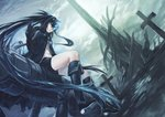 1girl absurdly_long_hair absurdres azomo black_footwear black_gloves black_hair black_jacket black_rock_shooter black_rock_shooter_(character) black_shorts blue_eyes boots burning_eye closed_mouth cloud cloudy_sky commentary floating_hair gloves hair_between_eyes high_heel_boots high_heels highres hood hood_down hooded_jacket jacket latin_cross long_hair looking_at_viewer open_clothes open_jacket outdoors overcast short_shorts shorts sitting sky solo very_long_hair