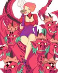 1girl commentary cosplay creature crossed_legs cup fangs frills gloves head_tilt highres horns jewelry looking_at_viewer mother_harlot mother_harlot_(cosplay) multiple_heads necklace okumura_haru persona persona_5 puffy_sleeves riding scales shin_megami_tensei smile truejekart white_background