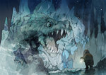2boys beard cave creature demizu_posuka dwarf facial_hair frozen hood ice monster multiple_boys original sword weapon