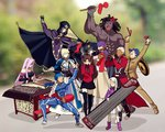 4boys 6+girls ahoge anger_vein archer armor armored_dress artoria_pendragon_(all) bangs bare_shoulders berserker black_gloves black_hair black_legwear black_skirt blindfold blonde_hair blue_bodysuit blue_hair blurry bodysuit bow bracer cape caster child cloak coat collar commentary_request covering_ears dark_skin dark_skinned_male depth_of_field detached_sleeves dizi dress drum erhu faceless facial_mark fate/stay_night fate_(series) forehead_mark gauntlets gloves hair_bow hair_bun hair_ribbon hat homurahara_academy_uniform hood hooded_cloak instrument lancer long_hair long_skirt long_sleeves matou_sakura matou_shinji meme motion_lines multiple_boys multiple_girls music open_mouth parody pauldrons pink_footwear pink_hair pipa_(instrument) playing_instrument ponytail purple_hair purple_ribbon red_bow red_coat ribbon rider saber school_uniform short_hair shoulder_armor sitting skirt strapless strapless_dress suona thighhighs toosaka_rin trench_coat trumpet trumpet_boy twintails two_side_up white_hair white_skirt yaoshi_jun zettai_ryouiki