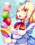 1girl bangs blonde_hair blue_background bow bowtie breasts buttons commentary_request eyebrows_visible_through_hair food food_on_face fruit highres holding ice_cream ice_cream_cone long_sleeves maid maid_headdress medium_breasts mugetsu one_eye_closed open_mouth orange orange_slice red_neckwear short_sleeves solo touhou touhou_(pc-98) upper_body wadante yellow_eyes